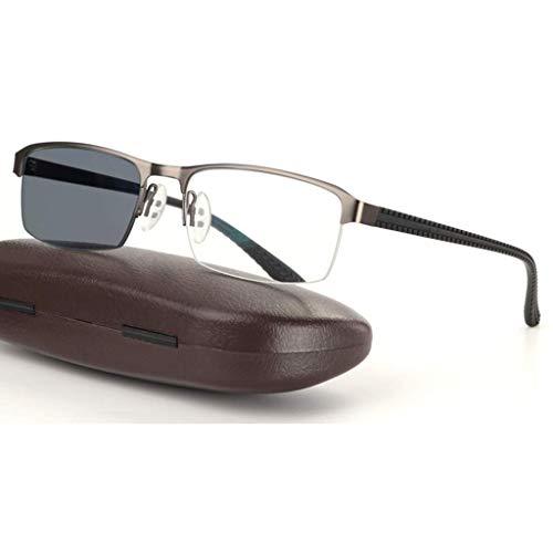 ZTM ZY Reading Glasses Lesebrille, Intelligent Transition Photochromic Progressive Sonnenbrille, Federgelenke aus rostfreiem Edelstahl, Sun Reader, für Herren/Damen,Gray,1.0
