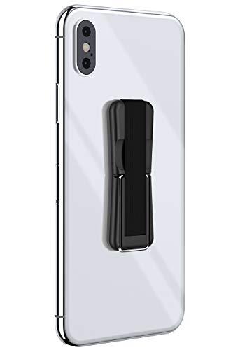 ONEFLOW® ClipGrip - Fingerhalter mit Aufstellfunktion für alle Smartphones | Einfache Einhandbedienung mit elastischem Band - Selbstklebend, Schwarz