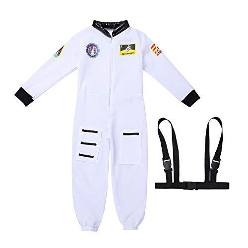 iEFiEL Astronauten-Kostüm Kinder Jungen Kostüm Astronaut Space Weltall Weltraum Raumfahrer Rollenspiel Kostüm Kinder Langarm Jumpsuit Overall Fasching Karneval Cosplay Weiß 128-140/8-10Jahre