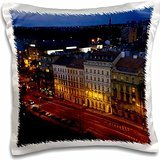 Lenas Photos - Europe - Hotel room view of nights in fashion capital Prague - 16x16 inch Pillow Case
