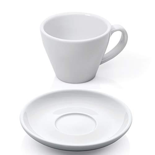 Gastro Spirit Espresso Doppio Tassen Set 12-TLG. weiß Porzellan Mokka Espressotasse Untertasse Doppel-Espresso Kaffeetasse dickwandig Füllmenge 180 ml Green Espresso-tasse
