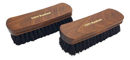 TIMELEOS Schuhbürste aus Rosshaar für optimale Schuhpflege | Rosshaarbürste | Glanzbürste | Schuhputzzeug | Schuhpolierbürste | Bürste | Schuhpflege (Dunkel 2er Set) -