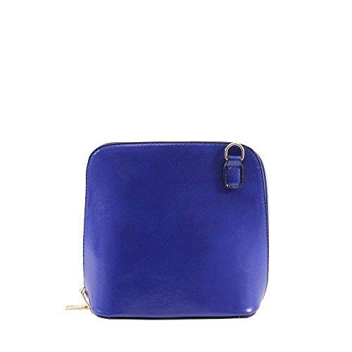Haute für Diva S NEU einfarbig Kunstleder Damen klein Umhängetasche Schulter Handtasche - Dunkelgrün, Small Königsblau