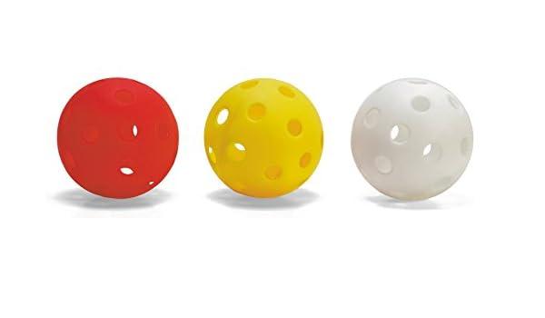rot Der Sportler GmbH Floorball Unihockey Ball 6er Set 70mm in wei/ß oder rot