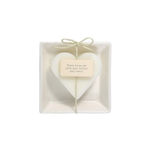 East of India Coconut heart shaped soap in dish by East of India