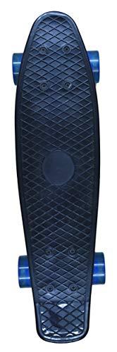 For Sport Skateboard 55 cm Mini Cruiser ABEC 7 Kugellager Retro Stil Rollen Komplett fertig montiert (Black)