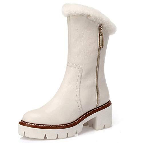 Buckle Mid High Boot - RegbKing Damenstiefel Zipper-Stiefeletten Aus Leder Mid-Calf
