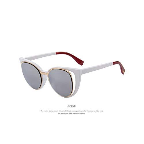 Sportbrillen, Angeln Golfbrille,MERRYS Fashion Cat Eye Sunglasses Women Brand Designer Retro Pierced Female Sun Glasses Oculos De Sol Feminino UV400 C03 White (Sonnenbrille Hochzeit Bulk)