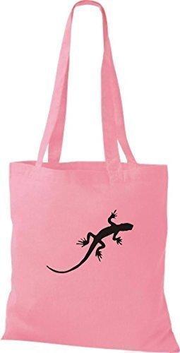 ShirtInStyle Stoffbeutel Gecko Echse Leguan Baumwolltasche Beutel, diverse Farbe classic pink