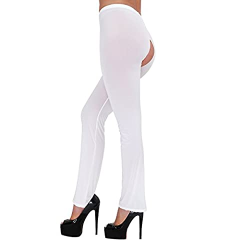 YIZYIF Womens Ultrathin Sheer Bell-bottom Lingerie Nightwear Stretchy Crotchless See-throughTrousers Long Pants Tights Underwear White Crotchless