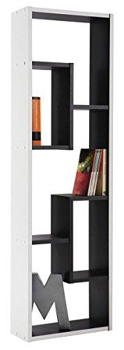 Estantería multimedia DVD de pie, 36x120cm. Blanco y negro. Para salón comedor estudio