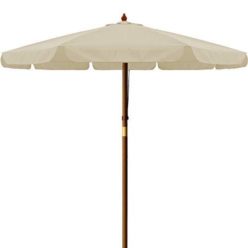 Deuba Sonnenschirm I UV-Schutz 40 Plus I Holz I Ø 330cm I Creme I stabile Verstrebungen I wasserabweisend - Gartenschirm Terrassenschirm Marktschirm Holz-Sonnenschirm