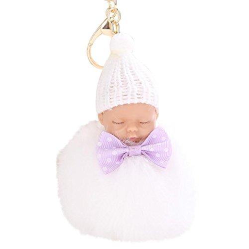 all Keychain Anhänger Frauen Schlüsselanhänger Pompons (Weiß) (Weiß Behandeln Taschen)