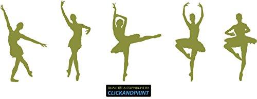 Olive Ballerinas (CLICKANDPRINT Aufkleber » Ballerinas, 200x63,8cm, Olive • Wandtattoo / Wandaufkleber / Wandsticker / Wanddeko / Vinyl)