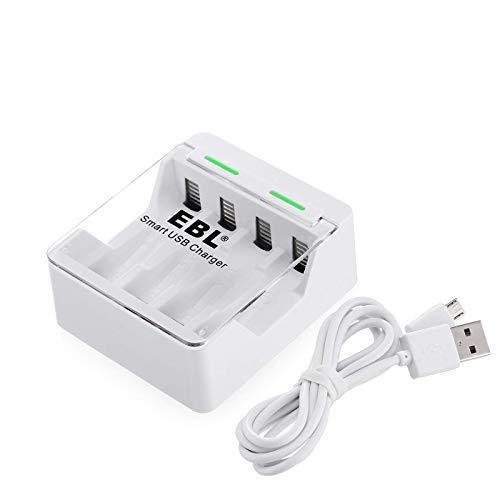 EBL caricabatterie con porta USB per batterie ricaricabili AA o AAA Ni-MH e Ni-CD