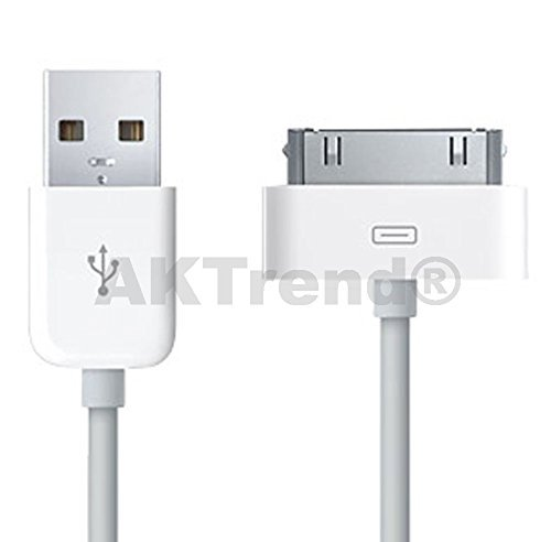 Original AKTrend® USB Sync Kabel Datenkabel Ladekabel für Apple iPhone 2G, 3G, 3GS, 4, 4S, 4 S // iPod Mini, Photo, Nano 1G, 2G, 3G, 4G // iPod Video, Classic, Touch 1G, 2G (iP4 Ladekabel Weiss) (Ipod Touch Video)