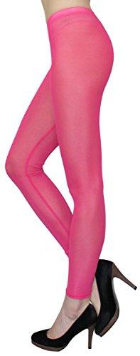 dy_mode Transparente Leggings in Sommerfarben/Durchsichtige Netz Leggings Strumpfhose - elastisch One Size 36 bis 42 - YLG114 (YLG114-Pink)