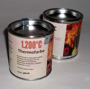 Preisvergleich Produktbild Ofenlack 1200°C Thermofarbe Ofenfarbe Thermolack Schwarz matt 2x 250ml (ad-ideen)