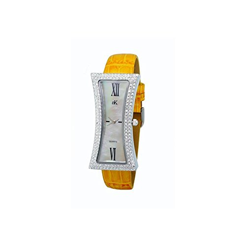 ADEE Kaye Women's Curvy Yellow Leather Band Brass CASE Quartz Watch AK9715-LYL