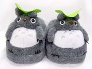 WM KING Totoro : doux gris Chausson peluche Totoro