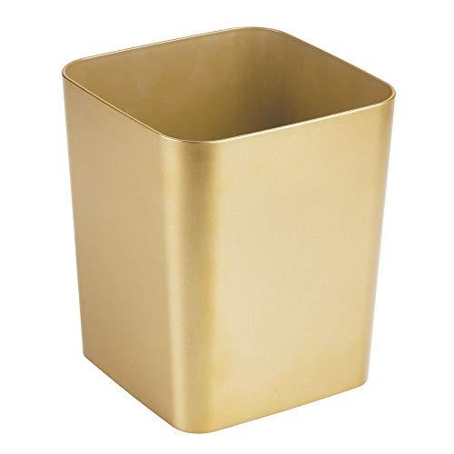 MDesign Elegante Papelera de baño de plástico - Versátil Cubo de Basura Cuadrado...