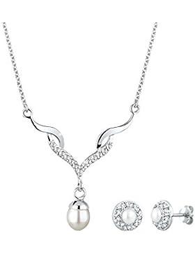 Perlu Damen-Schmuckset Brautschmuck 925 Sterling Silber Süßwasserzuchtperle Länge mit Swarovski Kristallen 45cm...