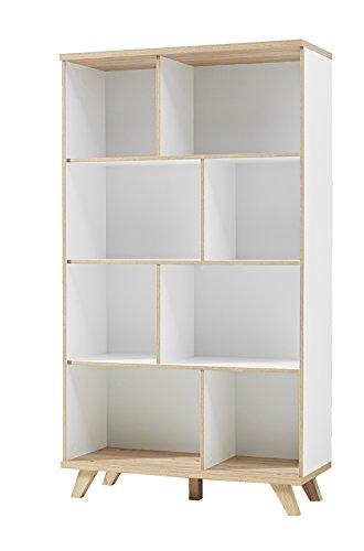 Germania 3268-221 Regal im skandinavischen Design GW-Oslo in Weiß/Absetzungen Sanremo-Eiche-Nachbildung, 96 x 171 x 40 cm (BxHxT)