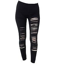 PunkJewelry Fashion Leggings de moda Ripeado Rotos Look Tamaño único