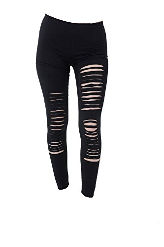 PunkJewelry Tattoo Damen Leggings Fashion Leggins Hose Ripped Zerrissen Look Einheitsgrösse (Grunge Rocker Kostüm)