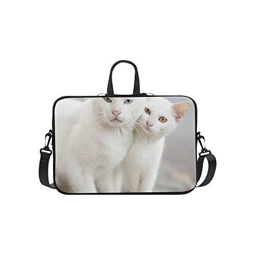 Katze mit 2 verschiedenfarbigen Augen Muster Aktentasche Laptoptasche Messenger Schultertasche Crossbody Handtasche für Geschäftsreisen