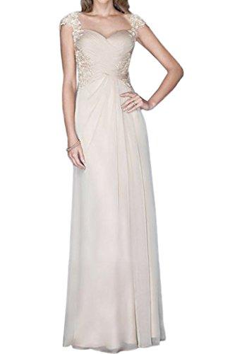 Victory Bridal Herrlich Chiffon Spitze Damen Brautjungfernkleider Abendkleider Promkleider Lang A-linie Champagner