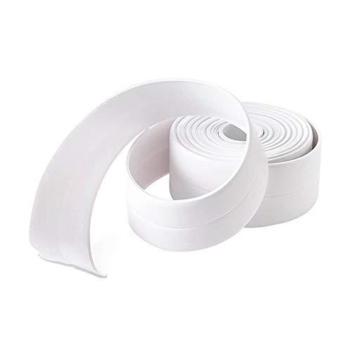 DarweirlueD 3,2 m PVC Wasserdicht Küche Wand Naht Streifen Anti-Kollision Schutz Aufkleber Bad Bad Dichtband Küche Bad Wasserdicht Dichtband, PVC, weiß, 3.2m x 22mm -