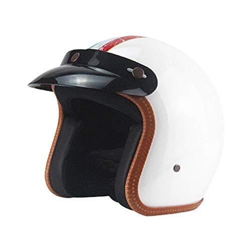 GZYTY Four Seasons Classic Retro Helm Persönlichkeit Retro Harley Helm Motorrad Auto 3/4 Halbhelm Italien,White Stripes Light Brown Thong - White Classic Thong
