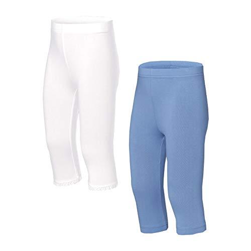 Pocopiano Kinder Baby Mädchen Capri Leggings 2ér Pack (92, Weiß/Blau) Bio-capri-leggings