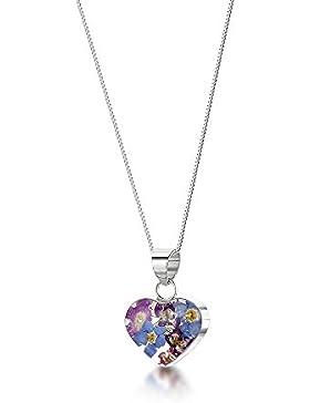 Silberschmuck mit echten Blumen: Herz-Anhänger - blaue & lila Vergissmeinnicht - mit 45cm Silberkette