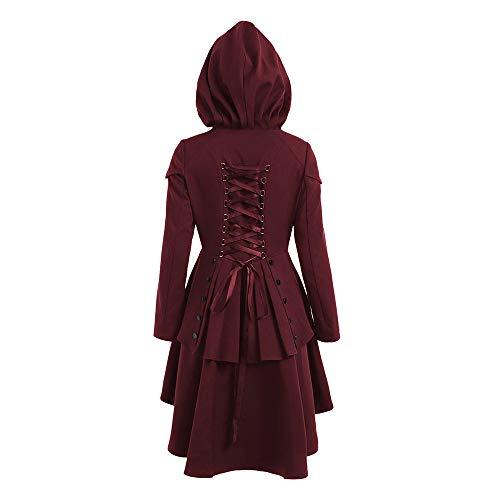 Mymyguoe Vintage Steampunk lang Lack Gothic Mantel Retro-Jacke wintermantel Winterjacke Strickjacke Frauen Lange Ärmel Layered Lace Up High Low Kapuzenmantel Verband Outwear -