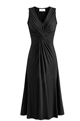 Frauen Elegant Ärmellose Tiefen V - Hals Knoten - Lange Kleid Black 4XL (V-hals-knoten Ärmellos)