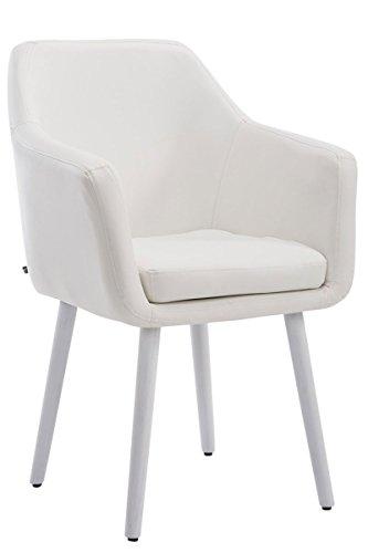 Clp sedia poltroncina utrecht in similpelle - poltrona da soggiorno con portata max 150 kg i sedia per sala attesa imbottita e telaio in legno di quercia bianco colore della base: bianco
