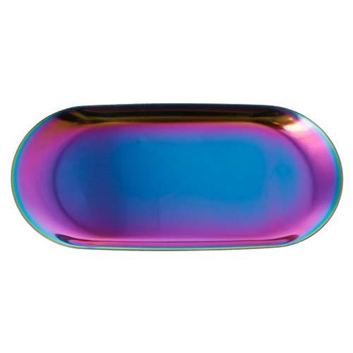 YoungerY Edelstahl Handtuch Oval Tray Tee Schüssel Obstteller Kosmetik Schmuck Veranstalter gefärbt  18x8.5cm / 7.09x3.35 (Veranstalter Rubbermaid-schublade)