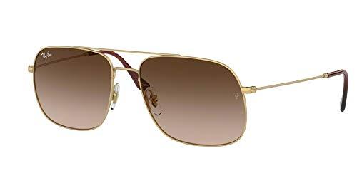 Ray-Ban Unisex-Erwachsene 0RB3595 Sonnenbrille, Blau (Rubber Gold), 56.0