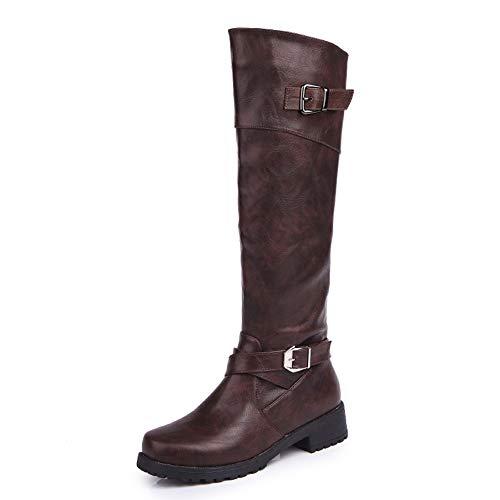 Botas para Mujer De Cuero Planos Largo Botas Altas Las Rodillas Alto Otoño Cremallera Zapatos De Mujer Moda Cómodos Negras Verde Marrón 35-43 BR36