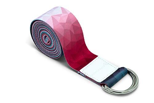 omnihabits Yogagurt bunt Designed, Bedruckt, Gemustert, Yogagürtel, Yogaband mit stabilen Metallringen zur flexiblen Größeneinstellung, 2,2m Länge