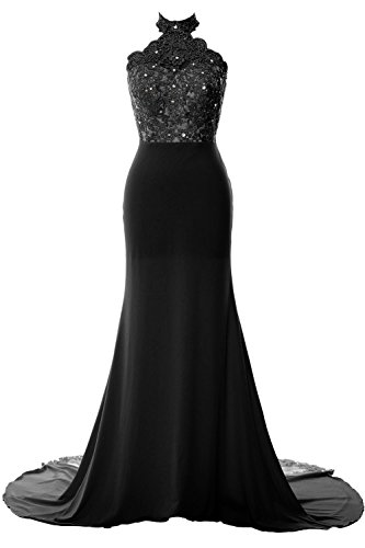 MACloth Women Mermaid Halter Lace Jersey Long Prom Dress Formal Evening Gown Black