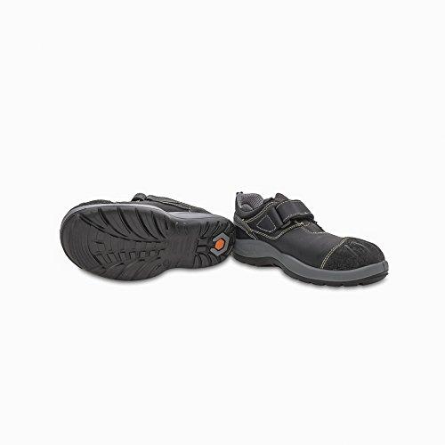 Base Protection - Scarpe antinfortunistiche in pelle fiore idrorepellente senza lacci. Con puntale acciaio, lamina antiforo. Categoria S3 SRA. - Taglia: 44
