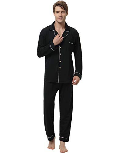Aiboria Herren Schlafanzug Pyjama Lang Volltonfarbe Schlafanzughose Set Pant Zweiteiliger Anzug Baumwolle Nachtwäsche