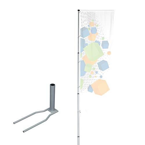 Vispronet® Mobiler Alu-Fahnenmast T-Pole® 200 ✓ stufenlos einstellbar ✓ Teleskopmasten ✓ drehbarer Ausleger ✓ Aluminium eloxiert (Standfuß Economy)