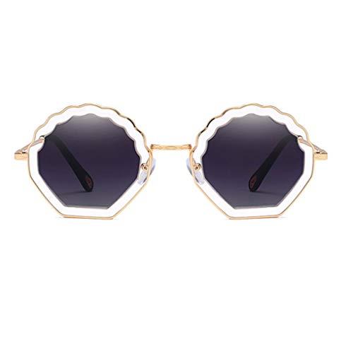Idyandyans Blume geformt Runde Sonnenbrille Metallrahmen PC Objektiv Sonnenbrillen UV400 Schutz Shades Brillen