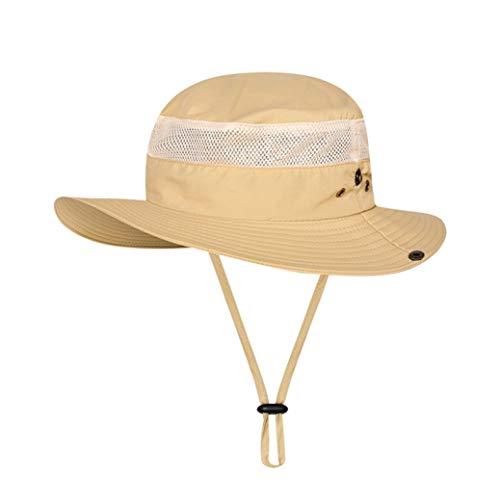 JOYOTER Unisex Atmungsaktiv Packbar Faltbarer Angelhut Sonnenschutz Nylon Mesh Fisherman Sun Cap mit Kinnriemen