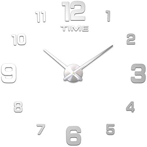 INICIO IMPRESIÓN (54 estilos) Estilos más abundante reloj de pared grande, diámetro 60-130cm grande de la pared decorativos Relojes Decoración DIY relojes de la sala (A B 1 Most Popular, #2 Silver dial, silver specular)
