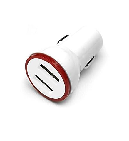 HubLines® - Chargeur de voiture USB de qualité - Adaptateur secteur adaptateur de voiture Voyage Prise chargeur charge une partie Carcharger pour White Véhicule Auto Auto - hublines